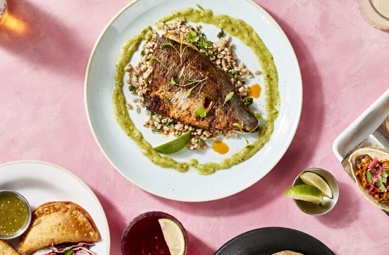 Grilled sea bream al ajillo